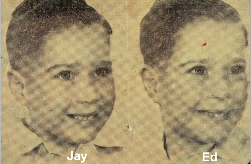 Jay and Ed Keystone at age 11, placing second in a twin lookalike contest for the Toronto Telegram