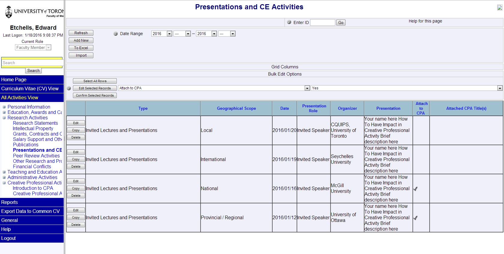 Figure 2 -  Example of Presentation list within WebCV