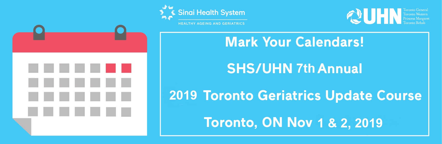Mark the date 2019 Toronto Geriatrics Update Course